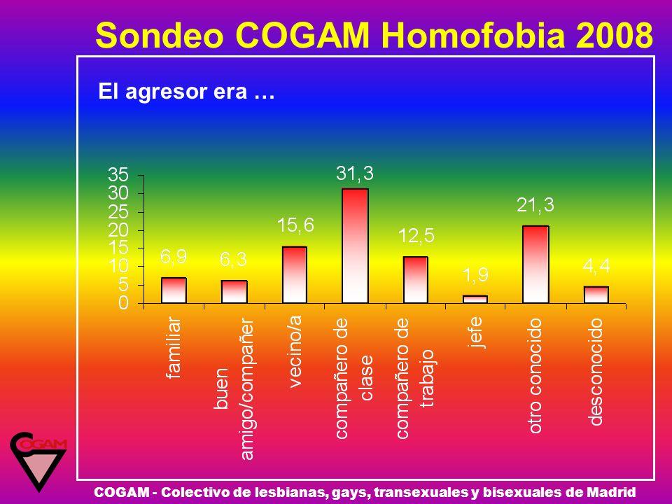 Sondeo COGAM Homofobia 2008 COGAM - Colectivo de lesbianas, gays, transexuales y bisexuales de Madrid El agresor era …