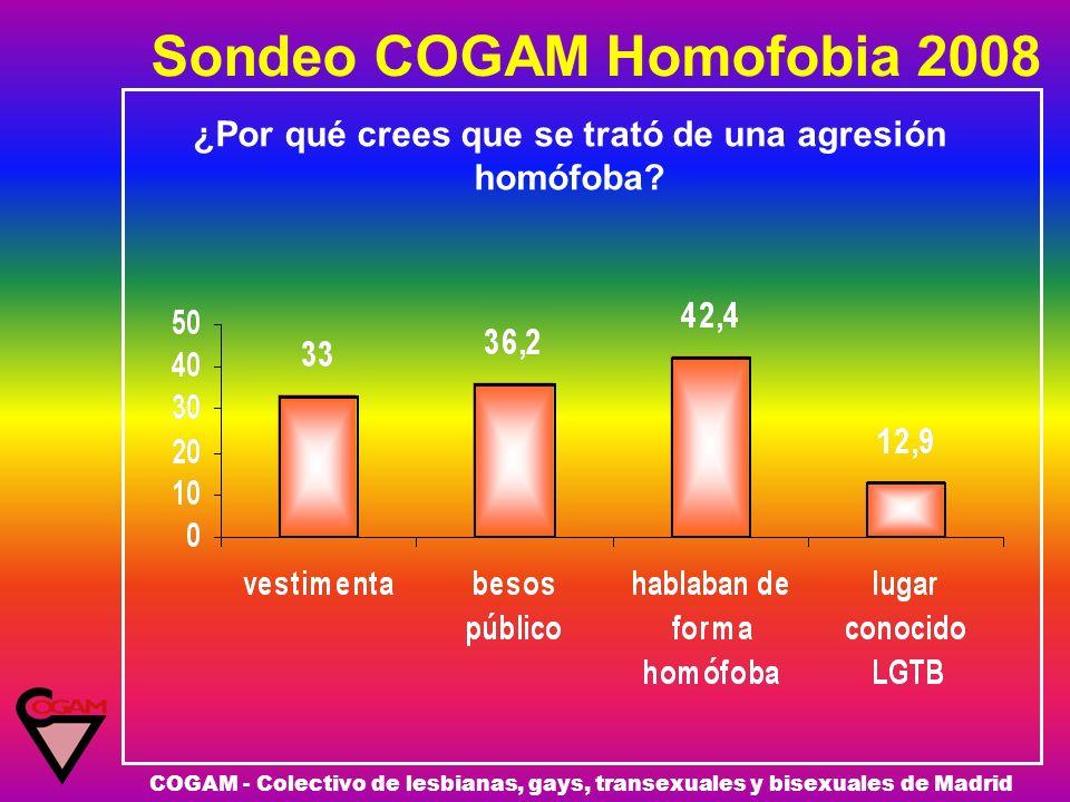 Sondeo COGAM Homofobia 2008 COGAM - Colectivo de lesbianas, gays, transexuales y bisexuales de Madrid ¿Por qué crees que se trató de una agresión homó