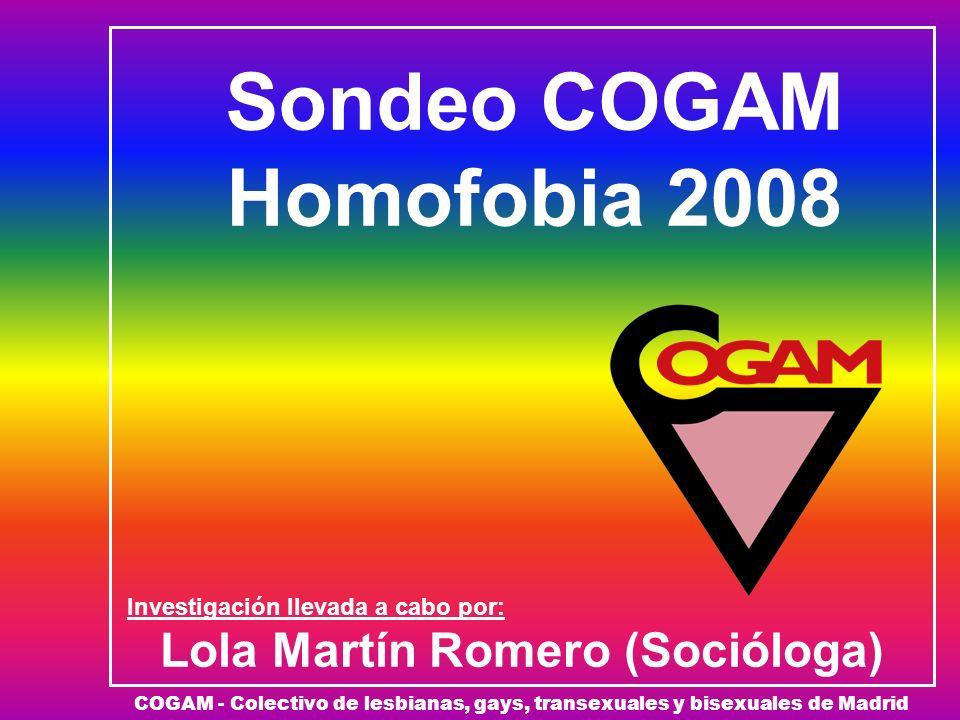 Sondeo COGAM Homofobia 2008 COGAM - Colectivo de lesbianas, gays, transexuales y bisexuales de Madrid Investigación llevada a cabo por: Lola Martín Ro