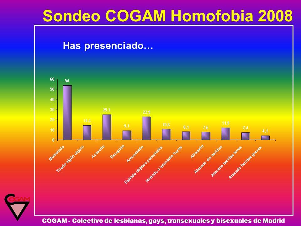 Sondeo COGAM Homofobia 2008 COGAM - Colectivo de lesbianas, gays, transexuales y bisexuales de Madrid Has presenciado…