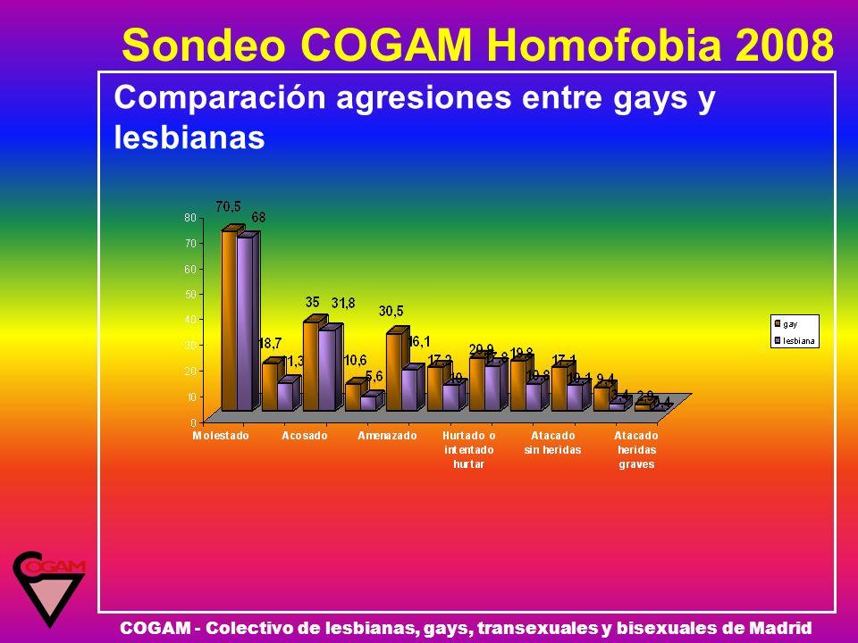 Sondeo COGAM Homofobia 2008 COGAM - Colectivo de lesbianas, gays, transexuales y bisexuales de Madrid Comparación agresiones entre gays y lesbianas