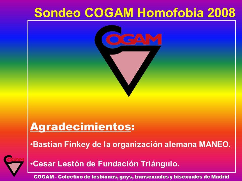 Sondeo COGAM Homofobia 2008 COGAM - Colectivo de lesbianas, gays, transexuales y bisexuales de Madrid Agradecimientos: Bastian Finkey de la organizaci