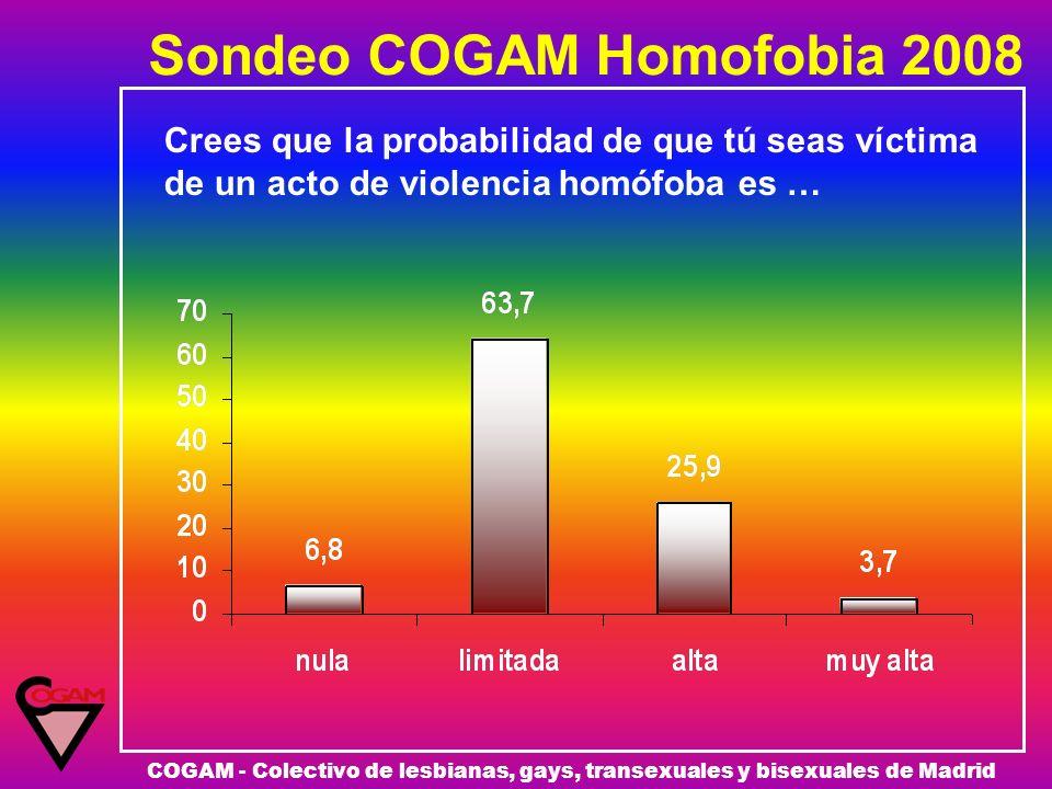 Sondeo COGAM Homofobia 2008 COGAM - Colectivo de lesbianas, gays, transexuales y bisexuales de Madrid Crees que la probabilidad de que tú seas víctima