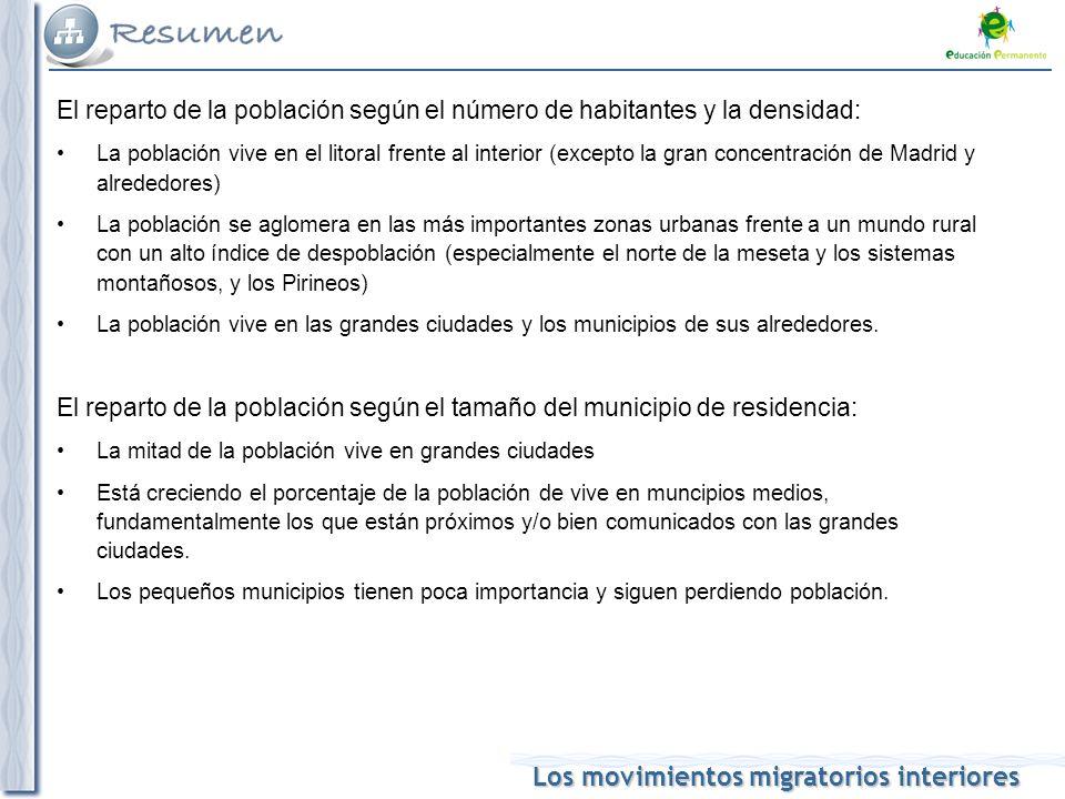 Los movimientos migratorios interiores El CRECIMIENTO REAL DE LA POBLACIÓN: depende de: Crecimiento vegetativo o natural Saldo migratorio El saldo migratorio influye en el crecimiento vegetativo: Llegada de inmigrantes: rejuvenecimiento y aumento de la natalidad Salida de emigrantes: envejecimiento y descenso de la natalidad REPARTO: Zonas con mayor TCR ( inmigración): –Madrid y alrededores –Litoral mediterráneo –Litoral atlántico andaluz –Archipiélagos –Zaragoza –Valladolid –Litoral atlántico gallego –Teruel-Cuenca Zonas con menor TCR (regresivas): –Noroeste del interior