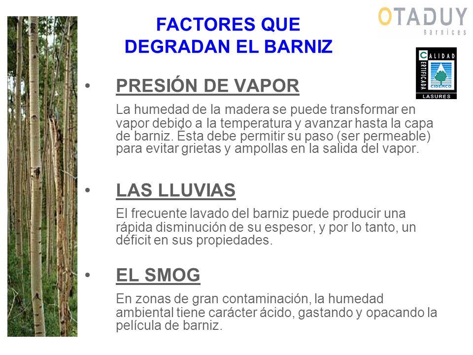 PRESIÓN DE VAPOR La humedad de la madera se puede transformar en vapor debido a la temperatura y avanzar hasta la capa de barniz. Ésta debe permitir s