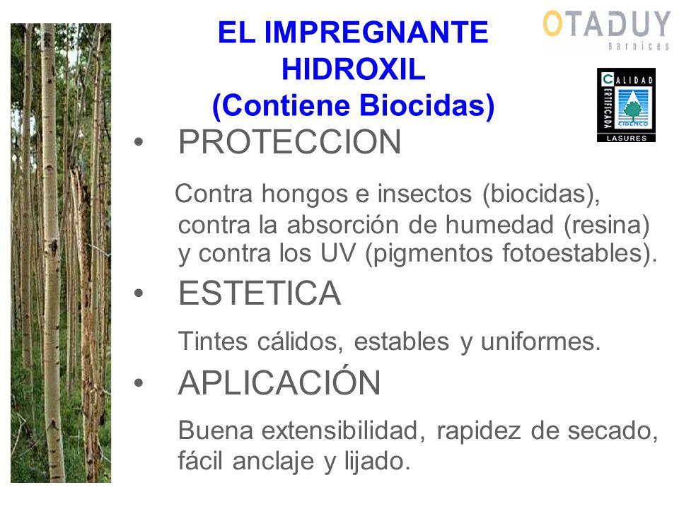EL IMPREGNANTE HIDROXIL (Contiene Biocidas) PROTECCION Contra hongos e insectos (biocidas), contra la absorción de humedad (resina) y contra los UV (p