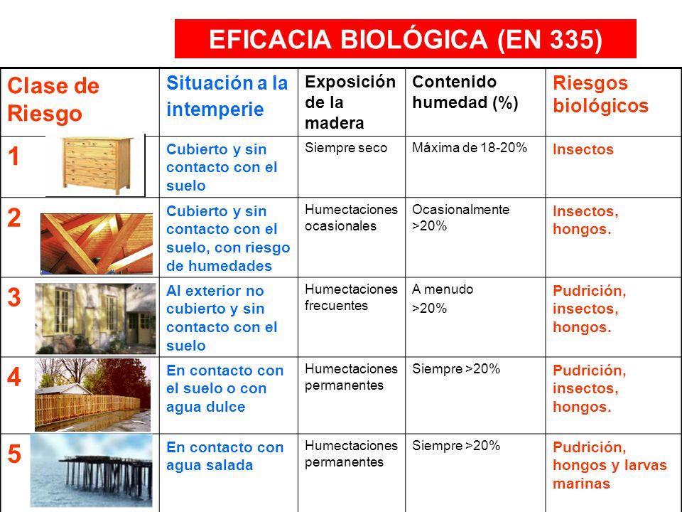 Clase de Riesgo Situación a la intemperie Exposición de la madera Contenido humedad (%) Riesgos biológicos 1 Cubierto y sin contacto con el suelo Siem