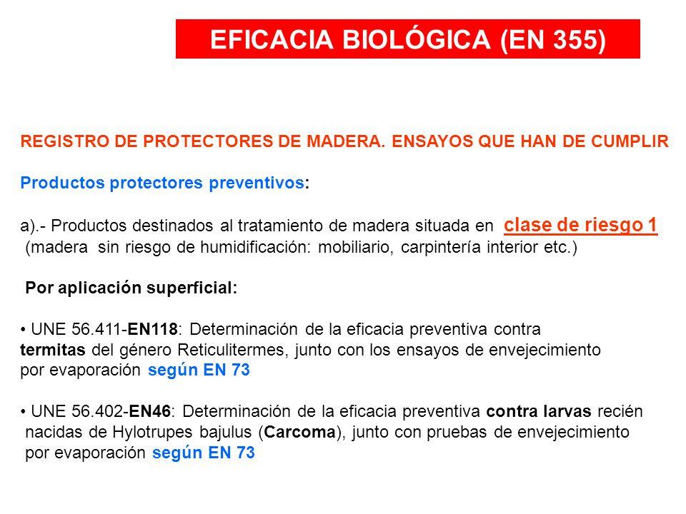 EFICACIA BIOLÓGICA (EN 355) REGISTRO DE PROTECTORES DE MADERA. ENSAYOS QUE HAN DE CUMPLIR Productos protectores preventivos: a).- Productos destinados