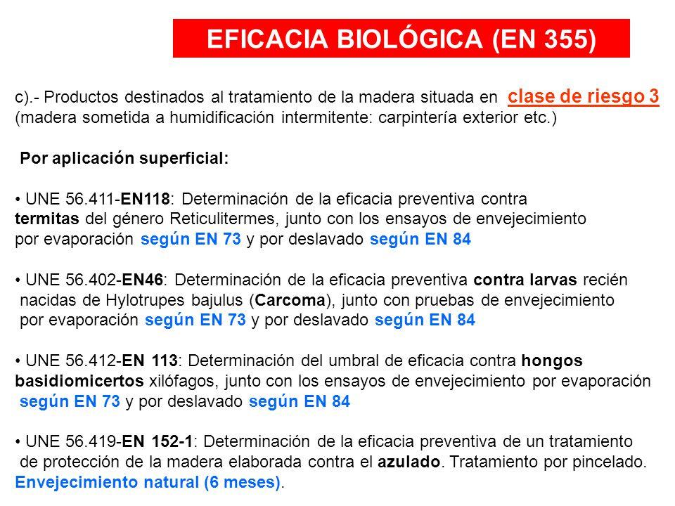 EFICACIA BIOLÓGICA (EN 355) PROTECTOR DECORATIVO para exterior con protección fungicida e insecticida: (HIDROXIL HX) Por aplicación superficial: (HIDROXIL HX) PRODUCTO REGISTRADO en el Ministerio de Sanidad y Consumo Normas que cumple: UNE 56.402-EN46: Carcoma UNE 56.419-EN 152-1: Hongos de azulado PROTECTOR CLASE DE RIESGO 3: (HIDROXIL R3) Por aplicación superficial: (HIDROXIL R3) PRODUCTO en PROCESO DE REGISTRO en el Ministerio de Sanidad y Consumo Normas que cumple: UNE 56.411-EN118: Termitas UNE 56.402-EN46: (Carcoma), UNE 56.419-EN 152-1: Hongos de azulado UNE 56.412-EN 113: hongos basidiomicertos (de pudrición)