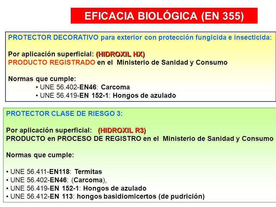EFICACIA BIOLÓGICA (EN 355) PROTECTOR DECORATIVO para exterior con protección fungicida e insecticida: (HIDROXIL HX) Por aplicación superficial: (HIDR
