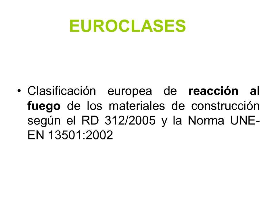 EUROCLASES Clasificación europea de reacción al fuego de los materiales de construcción según el RD 312/2005 y la Norma UNE- EN 13501:2002