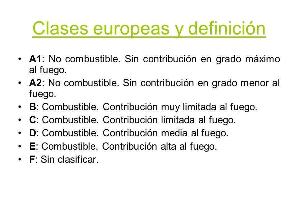 Clases europeas y definición A1: No combustible. Sin contribución en grado máximo al fuego. A2: No combustible. Sin contribución en grado menor al fue