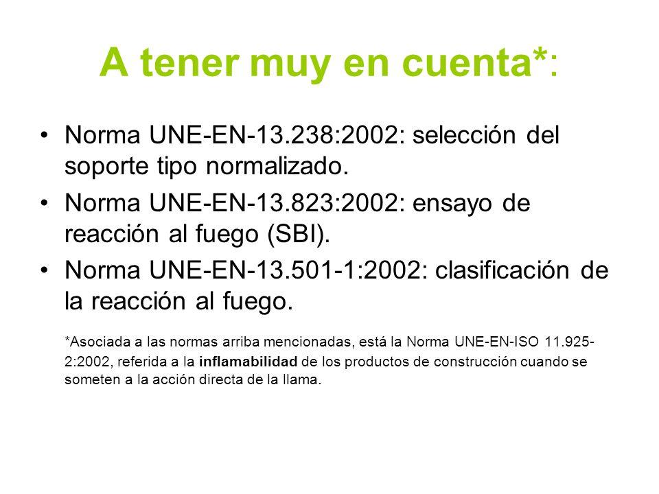 A tener muy en cuenta*: Norma UNE-EN-13.238:2002: selección del soporte tipo normalizado. Norma UNE-EN-13.823:2002: ensayo de reacción al fuego (SBI).