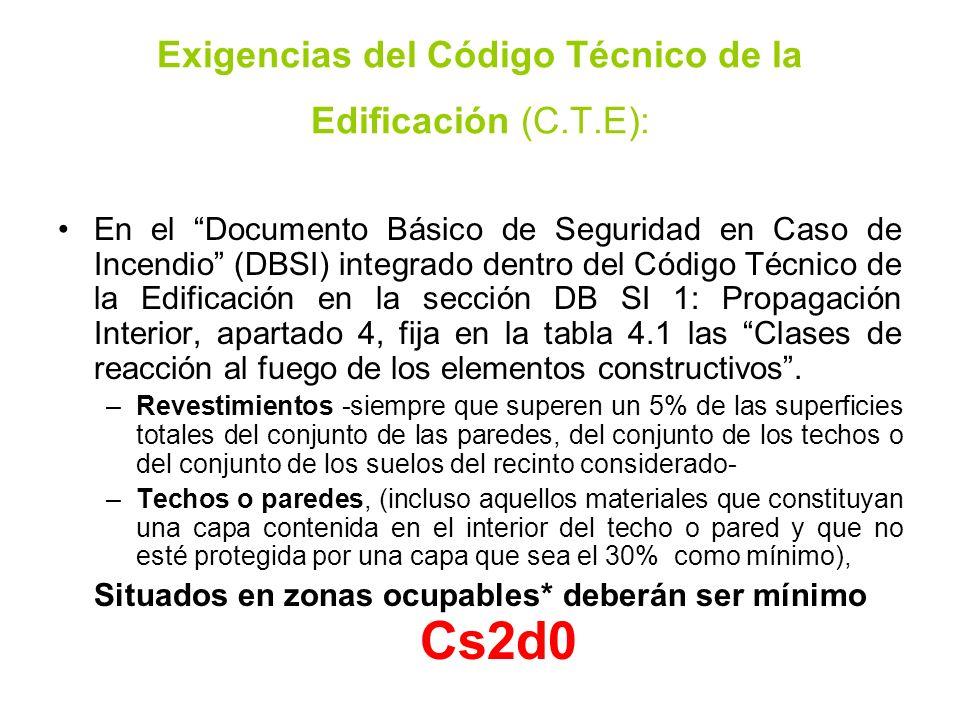 Exigencias del Código Técnico de la Edificación (C.T.E): En el Documento Básico de Seguridad en Caso de Incendio (DBSI) integrado dentro del Código Té
