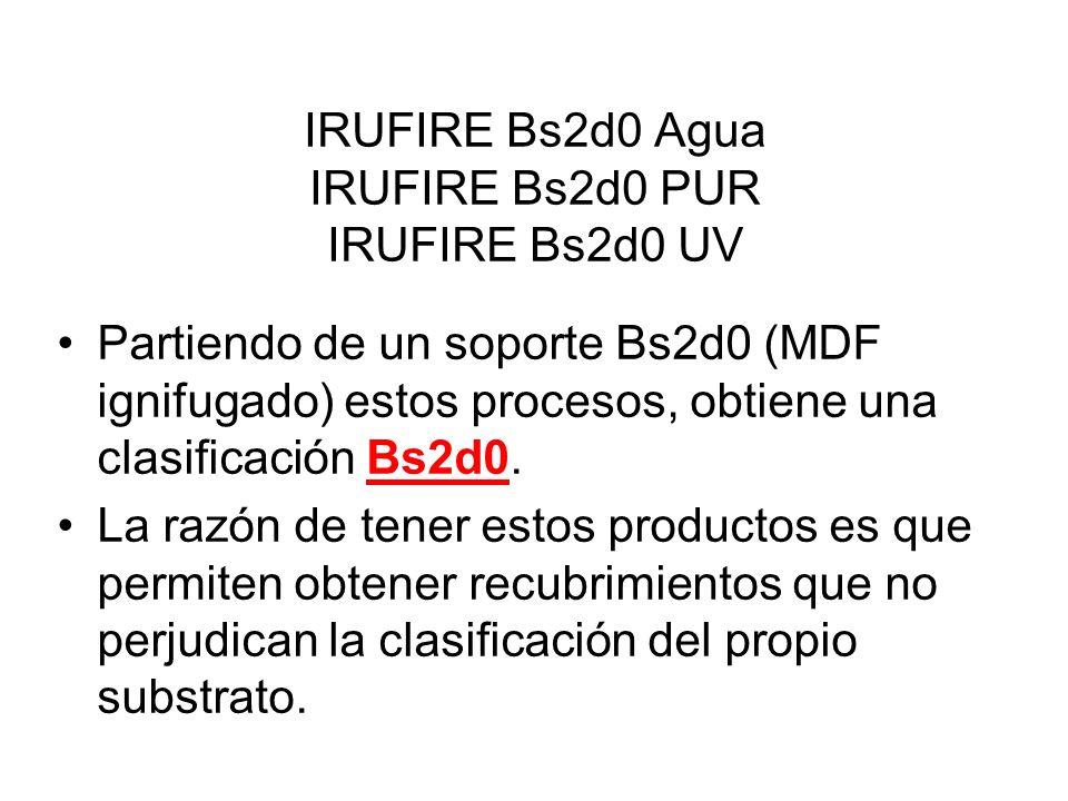 IRUFIRE Bs2d0 Agua IRUFIRE Bs2d0 PUR IRUFIRE Bs2d0 UV Partiendo de un soporte Bs2d0 (MDF ignifugado) estos procesos, obtiene una clasificación Bs2d0.
