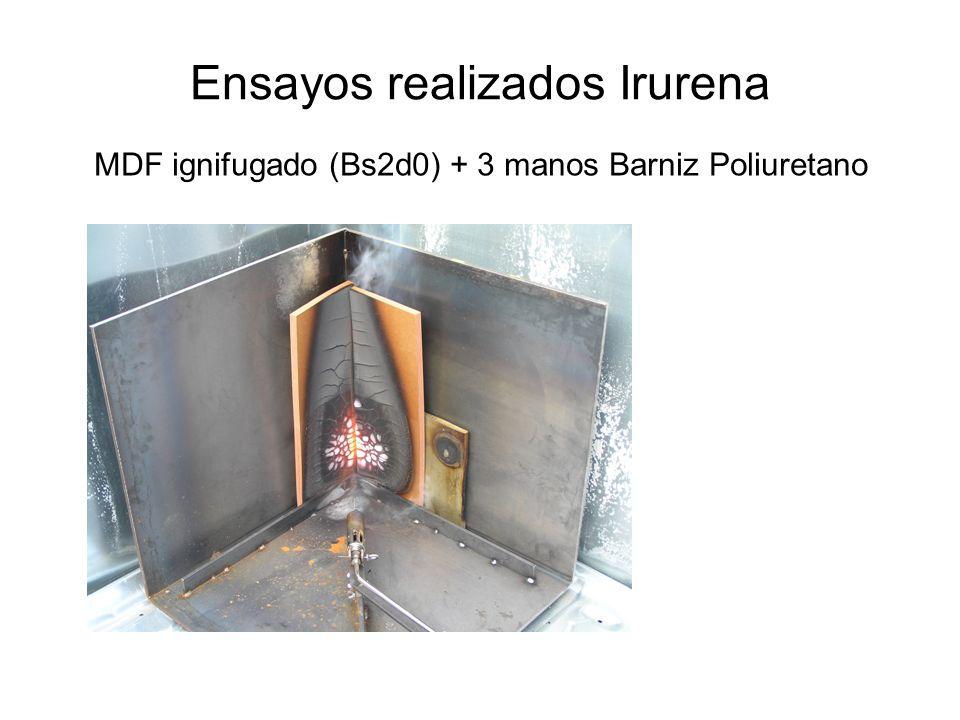 Ensayos realizados Irurena MDF ignifugado (Bs2d0) + 3 manos Barniz Poliuretano