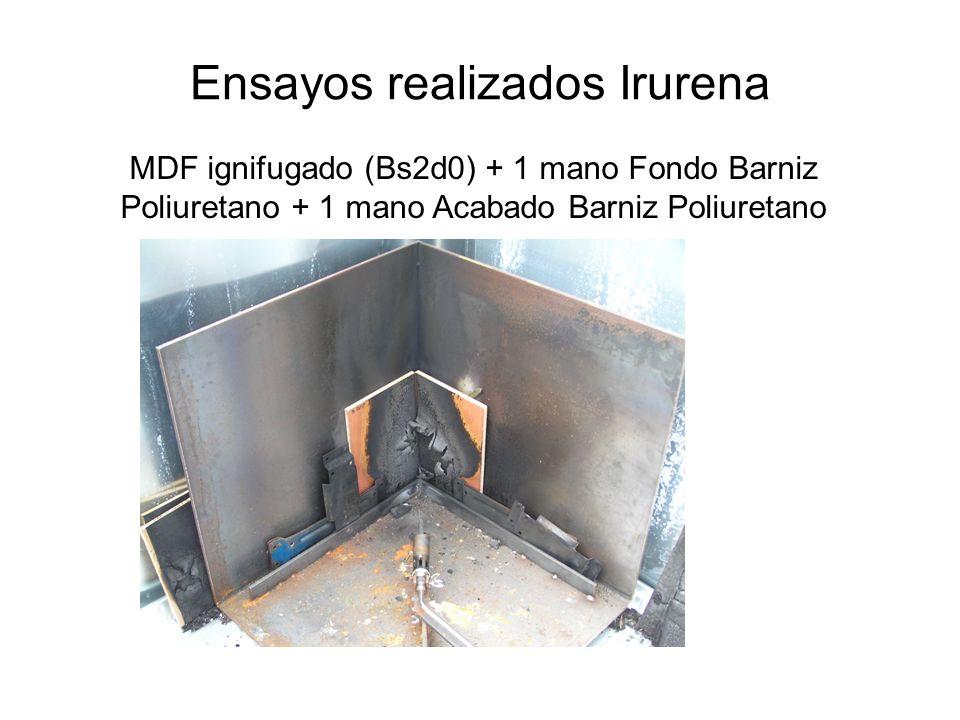 Ensayos realizados Irurena MDF ignifugado (Bs2d0) + 1 mano Fondo Barniz Poliuretano + 1 mano Acabado Barniz Poliuretano