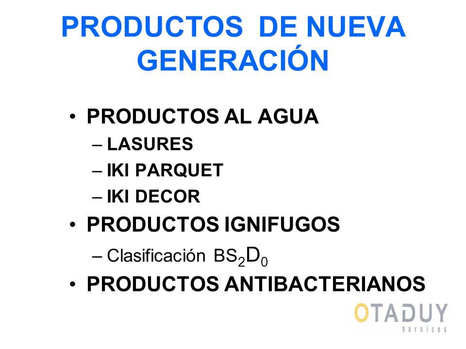PRODUCTOS DE NUEVA GENERACIÓN PRODUCTOS AL AGUA –LASURES –IKI PARQUET –IKI DECOR PRODUCTOS IGNIFUGOS –Clasificación BS 2 D 0 PRODUCTOS ANTIBACTERIANOS