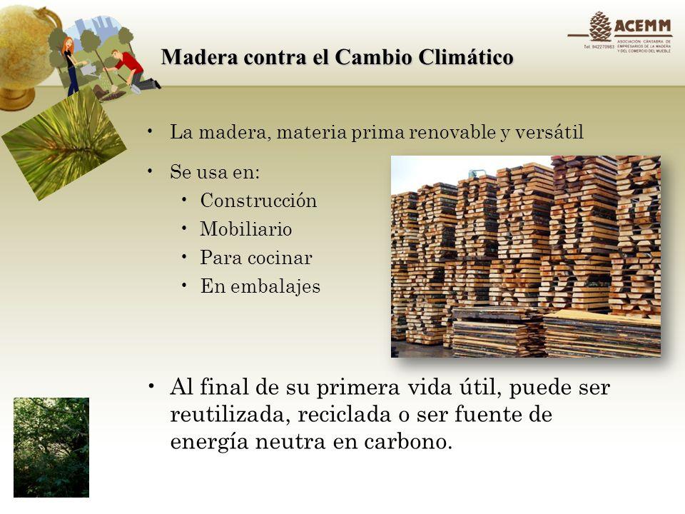 Madera contra el Cambio Climático La energía usada para crear los materiales que forman un edificio es normalmente un 22% de la energía total gastada a lo largo de su vida útil del edificio.