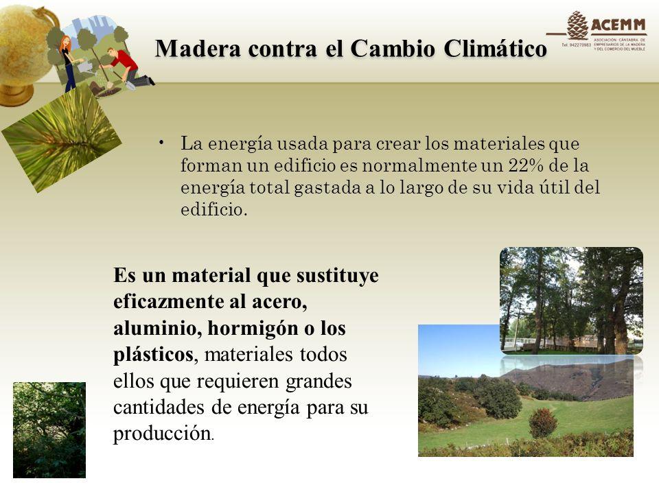 Madera contra el Cambio Climático En la mayoría de los casos, la energía necesaria para la transformación y el transporte de la madera es menor que la energía almacenada mediante la fotosíntesis en la propia madera.