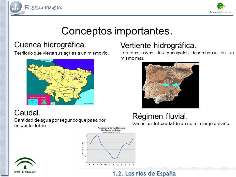 Cuenca hidrográfica. Territorio que vierte sus aguas a un mismo río.. Conceptos importantes. Vertiente hidrográfica. Territorio cuyos ríos principales