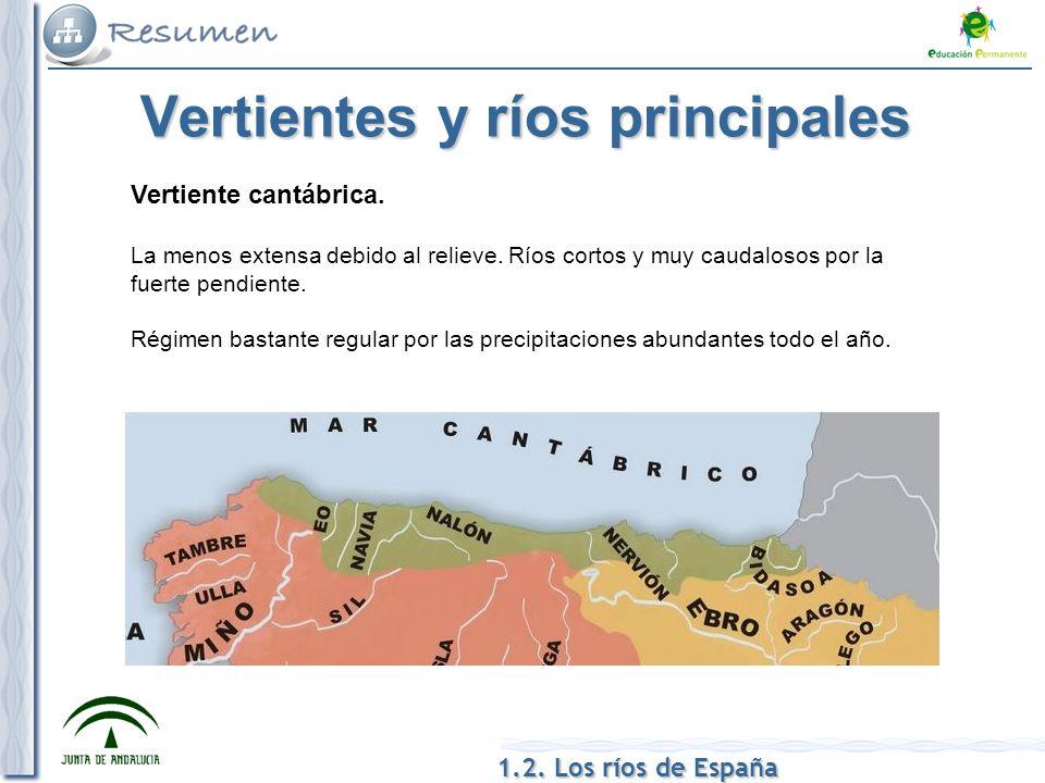1.2. Los ríos de España Vertientes y ríos principales Vertiente cantábrica. La menos extensa debido al relieve. Ríos cortos y muy caudalosos por la fu