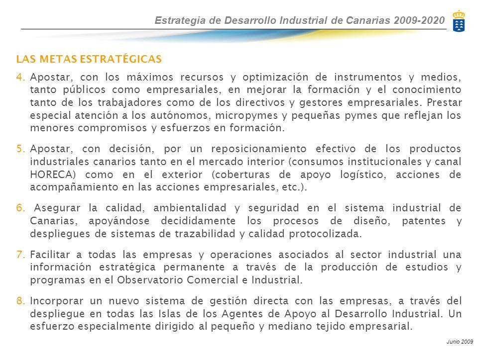 Estrategia de Desarrollo Industrial de Canarias 2009-2020 Junio 2009 LAS METAS ESTRATÉGICAS 4. Apostar, con los máximos recursos y optimización de ins
