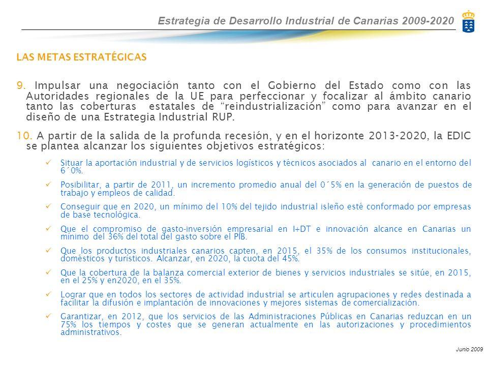 Estrategia de Desarrollo Industrial de Canarias 2009-2020 Junio 2009 LAS METAS ESTRATÉGICAS 9. Impulsar una negociación tanto con el Gobierno del Esta