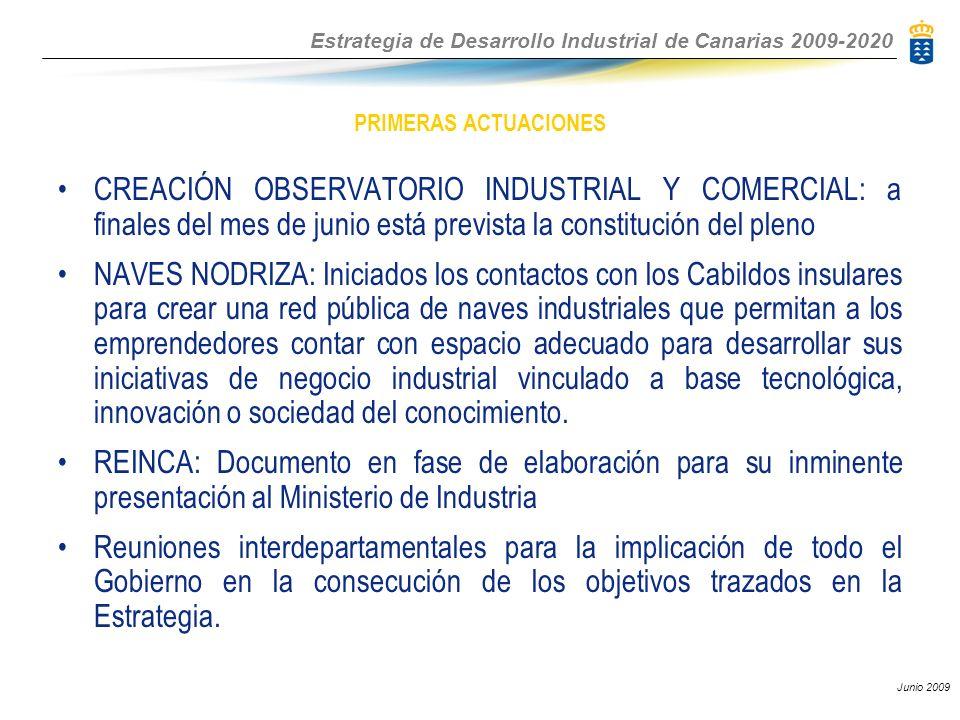 Estrategia de Desarrollo Industrial de Canarias 2009-2020 Junio 2009 PRIMERAS ACTUACIONES CREACIÓN OBSERVATORIO INDUSTRIAL Y COMERCIAL: a finales del mes de junio está prevista la constitución del pleno NAVES NODRIZA: Iniciados los contactos con los Cabildos insulares para crear una red pública de naves industriales que permitan a los emprendedores contar con espacio adecuado para desarrollar sus iniciativas de negocio industrial vinculado a base tecnológica, innovación o sociedad del conocimiento.