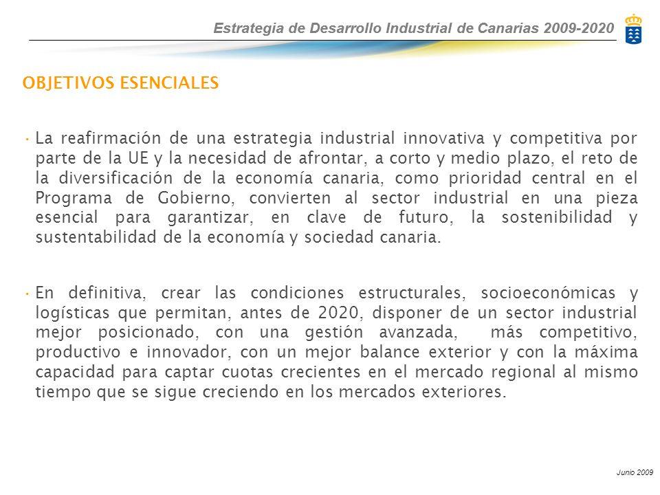 Estrategia de Desarrollo Industrial de Canarias 2009-2020 Junio 2009 Estrategia de Desarrollo Industrial de Canarias 2009-2020 OBJETIVOS ESENCIALES La reafirmación de una estrategia industrial innovativa y competitiva por parte de la UE y la necesidad de afrontar, a corto y medio plazo, el reto de la diversificación de la economía canaria, como prioridad central en el Programa de Gobierno, convierten al sector industrial en una pieza esencial para garantizar, en clave de futuro, la sostenibilidad y sustentabilidad de la economía y sociedad canaria.
