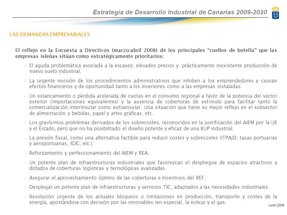 Estrategia de Desarrollo Industrial de Canarias 2009-2020 Junio 2009 LAS DEMANDAS EMPRESARIALES El reflejo en la Encuesta a Directivos (marzo-abril 2008) de los principales cuellos de botella que las empresas isleñas sitúan como estratégicamente prioritarios: El aguda problemática asociada a la escasez, elevados precios y prácticamente inexistente producción de nuevo suelo industrial.