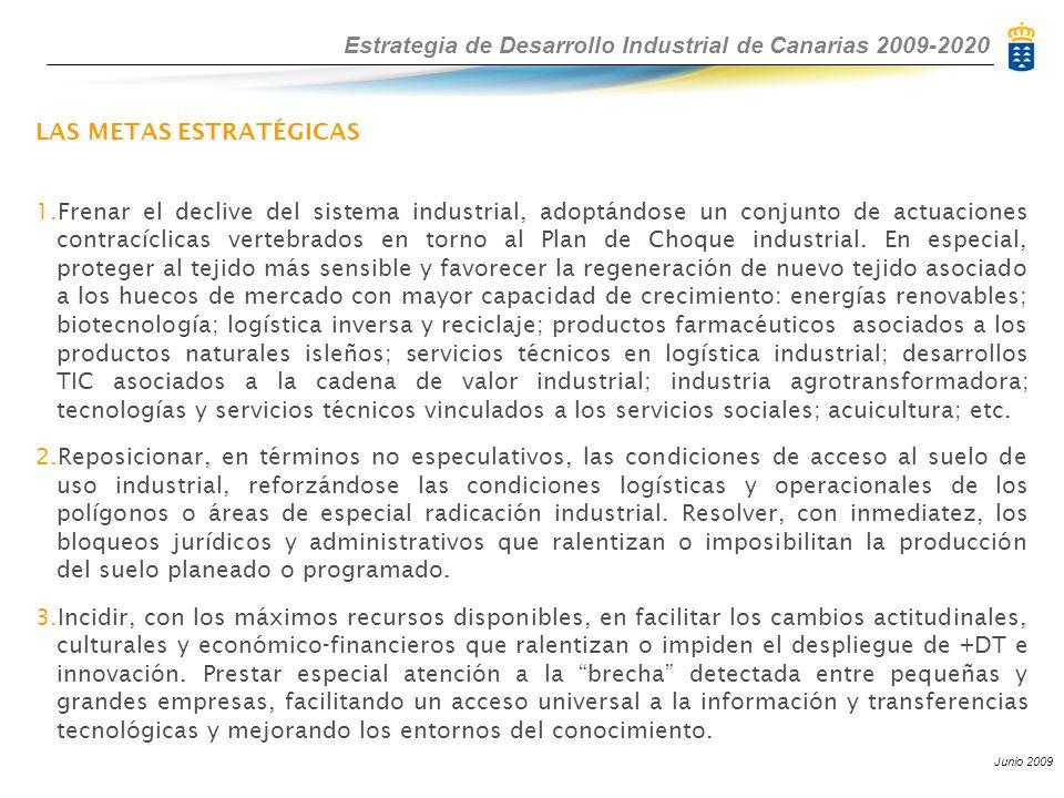 Estrategia de Desarrollo Industrial de Canarias 2009-2020 Junio 2009 LAS METAS ESTRATÉGICAS 1.Frenar el declive del sistema industrial, adoptándose un conjunto de actuaciones contracíclicas vertebrados en torno al Plan de Choque industrial.
