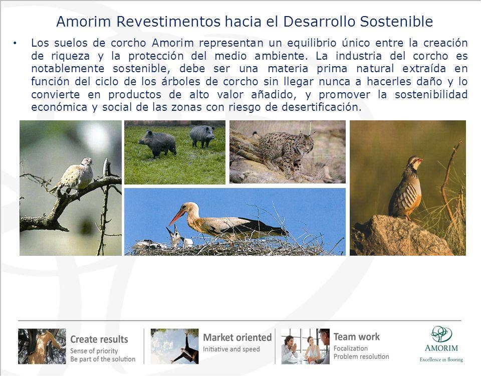 Amorim Revestimentos hacia el Desarrollo Sostenible Los suelos de corcho Amorim representan un equilibrio único entre la creación de riqueza y la prot