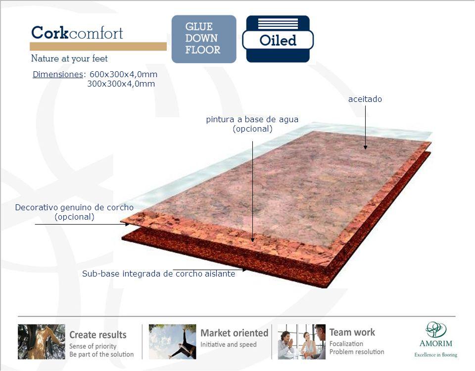 aceitado pintura a base de agua (opcional) Sub-base integrada de corcho aislante Decorativo genuino de corcho (opcional) Dimensiones: 600x300x4,0mm 30