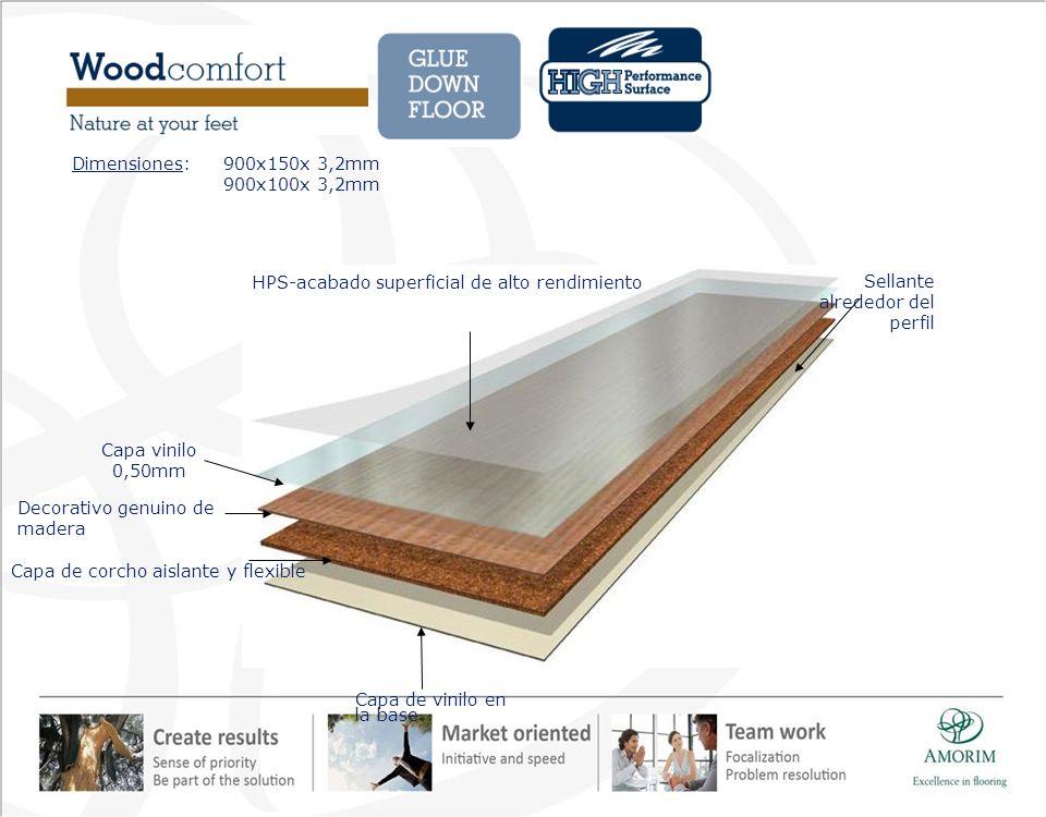 Capa de vinilo en la base Sellante alrededor del perfil Capa de corcho aislante y flexible Decorativo genuino de madera Capa vinilo 0,50mm HPS-acabado