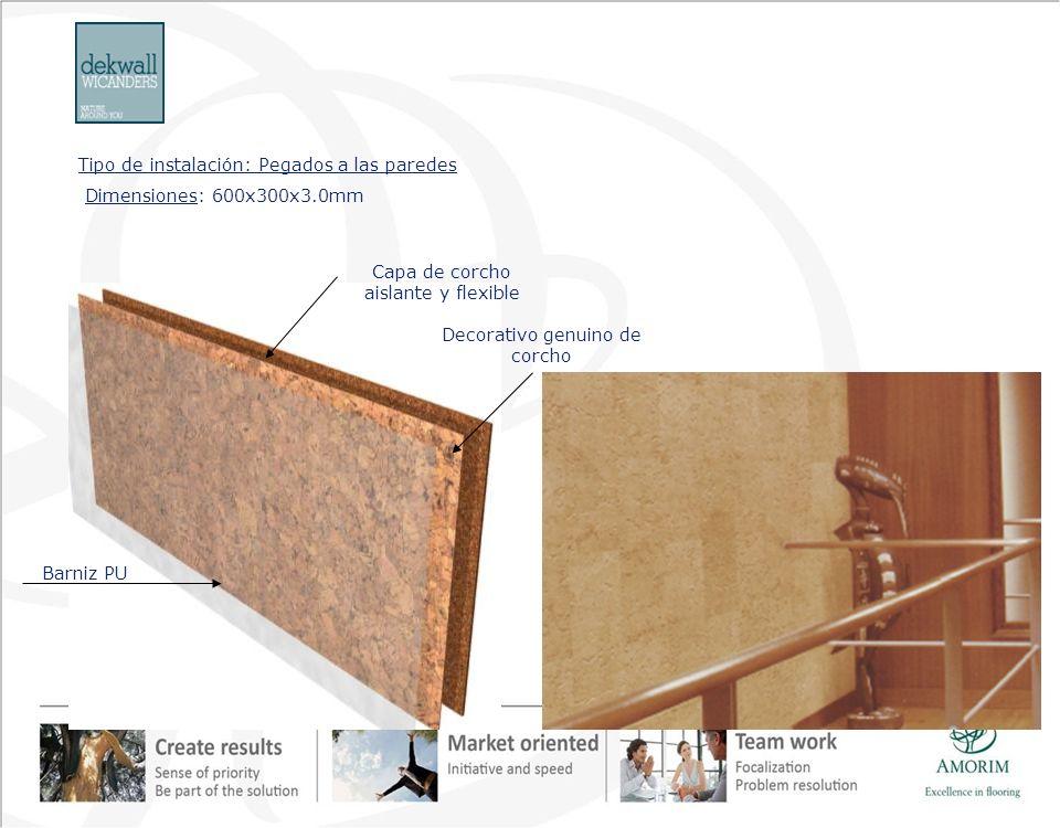 Dimensiones: 600x300x3.0mm Tipo de instalación: Pegados a las paredes Capa de corcho aislante y flexible Decorativo genuino de corcho Barniz PU