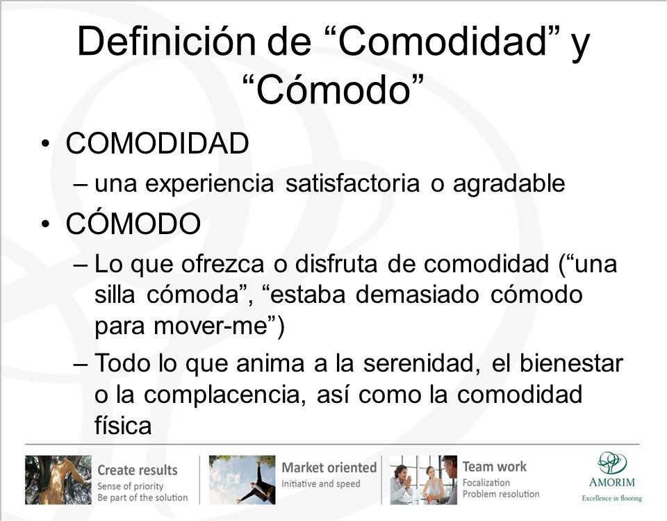 Definición de Comodidad y Cómodo COMODIDAD –una experiencia satisfactoria o agradable CÓMODO –Lo que ofrezca o disfruta de comodidad (una silla cómoda