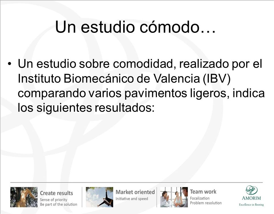 Un estudio cómodo… Un estudio sobre comodidad, realizado por el Instituto Biomecánico de Valencia (IBV) comparando varios pavimentos ligeros, indica l