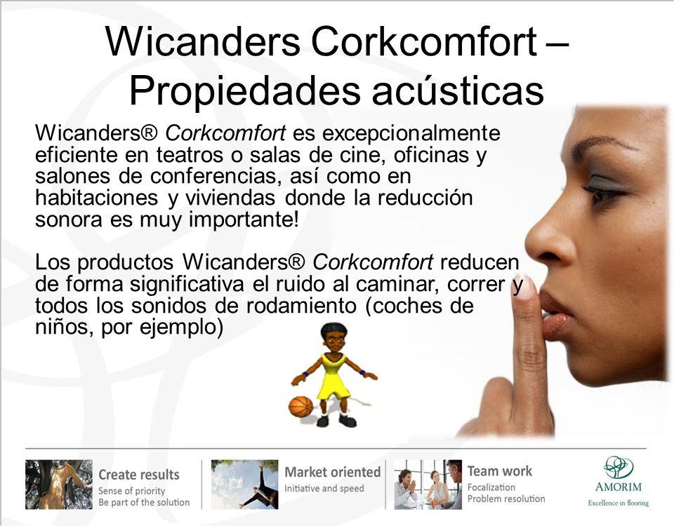 Wicanders Corkcomfort – Propiedades acústicas Wicanders® Corkcomfort es excepcionalmente eficiente en teatros o salas de cine, oficinas y salones de c