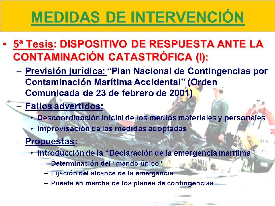 MEDIDAS DE INTERVENCIÓN 5ª TesisDISPOSITIVO DE RESPUESTA ANTE LA CONTAMINACIÓN CATASTRÓFICA (I):5ª Tesis: DISPOSITIVO DE RESPUESTA ANTE LA CONTAMINACI