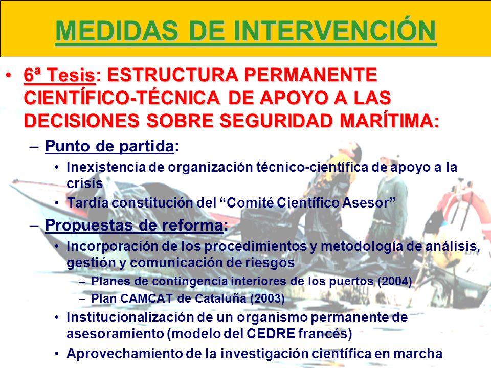 MEDIDAS DE INTERVENCIÓN 6ª TesisESTRUCTURA PERMANENTE CIENTÍFICO-TÉCNICA DE APOYO A LAS DECISIONES SOBRE SEGURIDAD MARÍTIMA:6ª Tesis: ESTRUCTURA PERMA