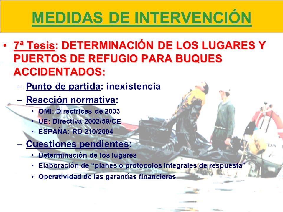 MEDIDAS DE INTERVENCIÓN 7ª TesisDETERMINACIÓN DE LOS LUGARES Y PUERTOS DE REFUGIO PARA BUQUES ACCIDENTADOS:7ª Tesis: DETERMINACIÓN DE LOS LUGARES Y PU