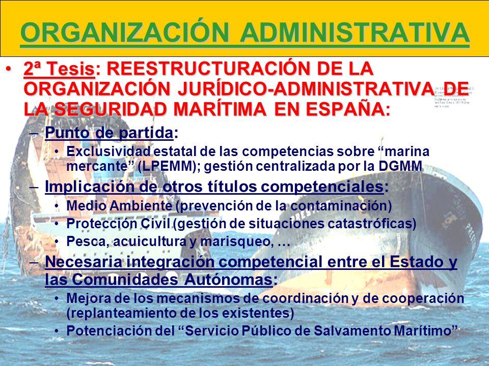 ORGANIZACIÓN ADMINISTRATIVA 2ª TesisREESTRUCTURACIÓN DE LA ORGANIZACIÓN JURÍDICO-ADMINISTRATIVA DE LA SEGURIDAD MARÍTIMA EN ESPAÑA2ª Tesis: REESTRUCTU