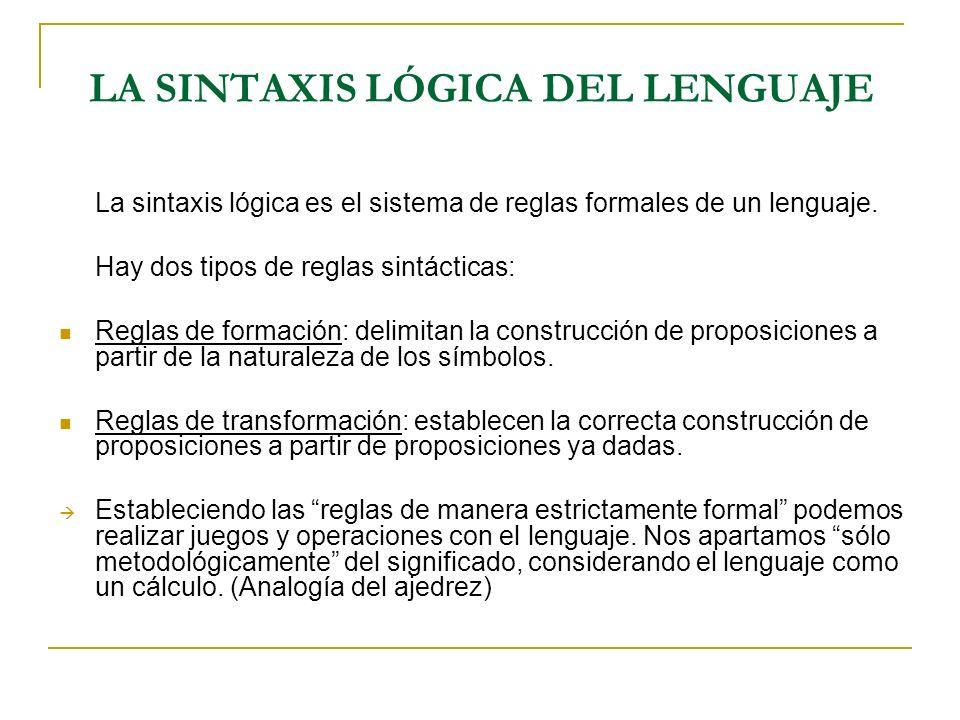 LA SINTAXIS LÓGICA DEL LENGUAJE La sintaxis lógica es el sistema de reglas formales de un lenguaje. Hay dos tipos de reglas sintácticas: Reglas de for