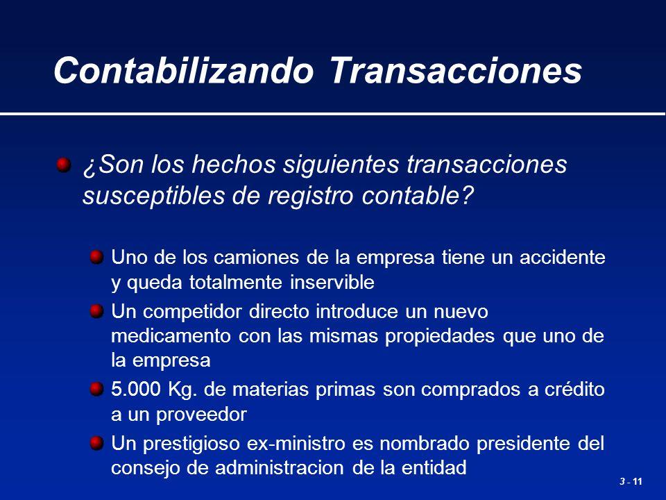 3 - 11 ¿Son los hechos siguientes transacciones susceptibles de registro contable? Uno de los camiones de la empresa tiene un accidente y queda totalm
