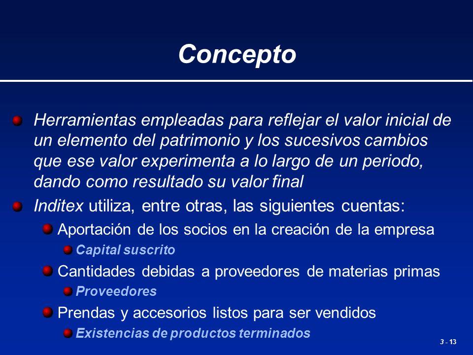 3 - 13 Concepto Herramientas empleadas para reflejar el valor inicial de un elemento del patrimonio y los sucesivos cambios que ese valor experimenta