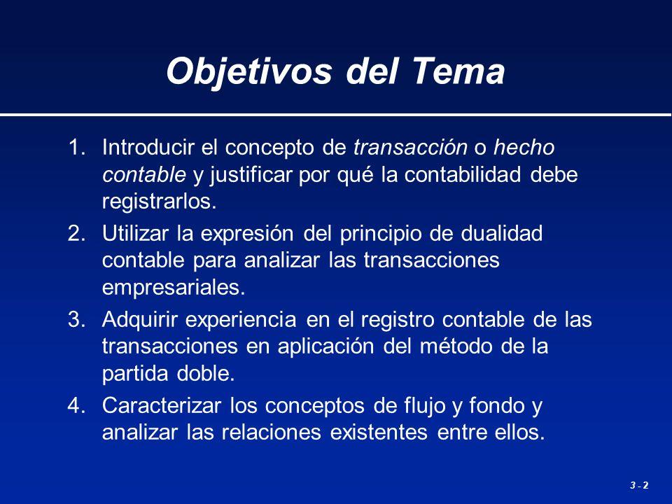3 - 2 Objetivos del Tema 1.Introducir el concepto de transacción o hecho contable y justificar por qué la contabilidad debe registrarlos. 2.Utilizar l