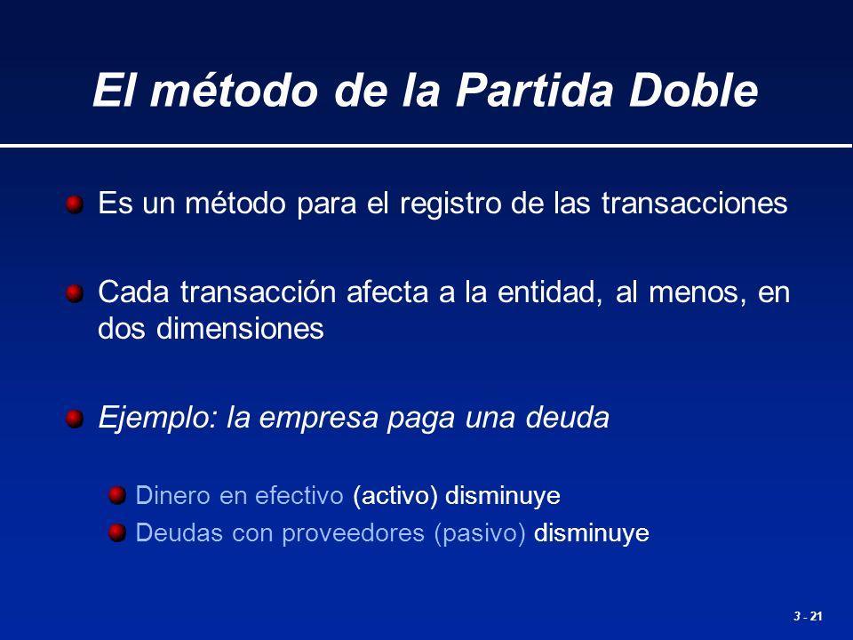 3 - 21 El método de la Partida Doble Es un método para el registro de las transacciones Cada transacción afecta a la entidad, al menos, en dos dimensi