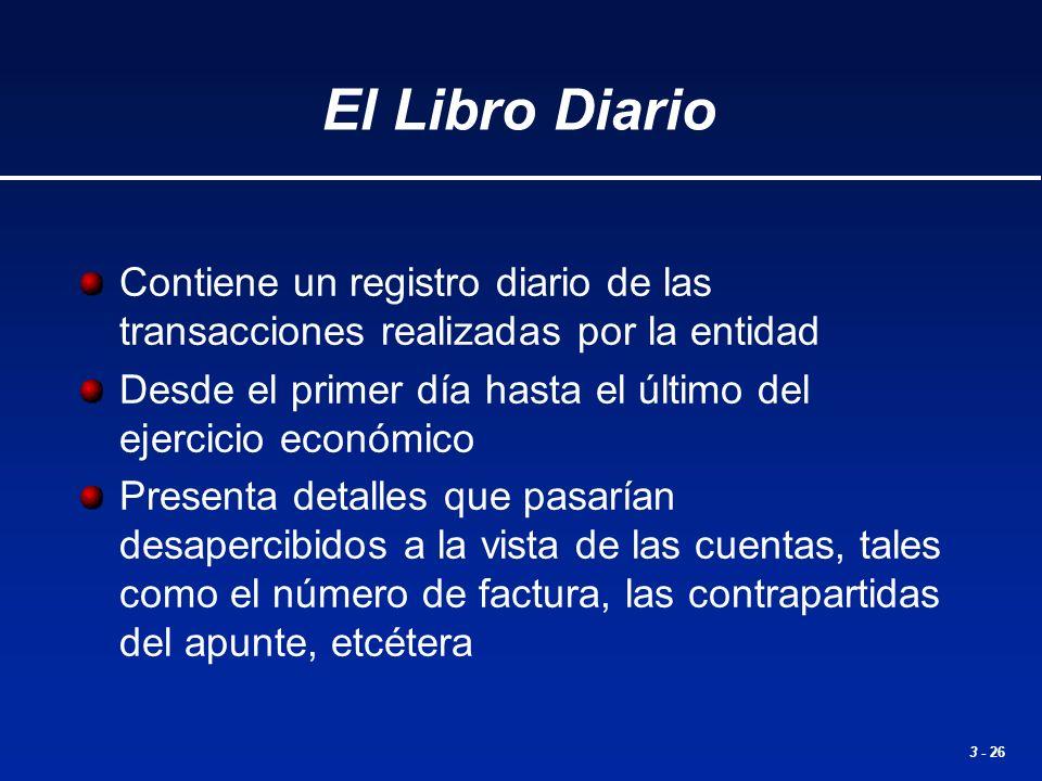 3 - 26 El Libro Diario Contiene un registro diario de las transacciones realizadas por la entidad Desde el primer día hasta el último del ejercicio ec