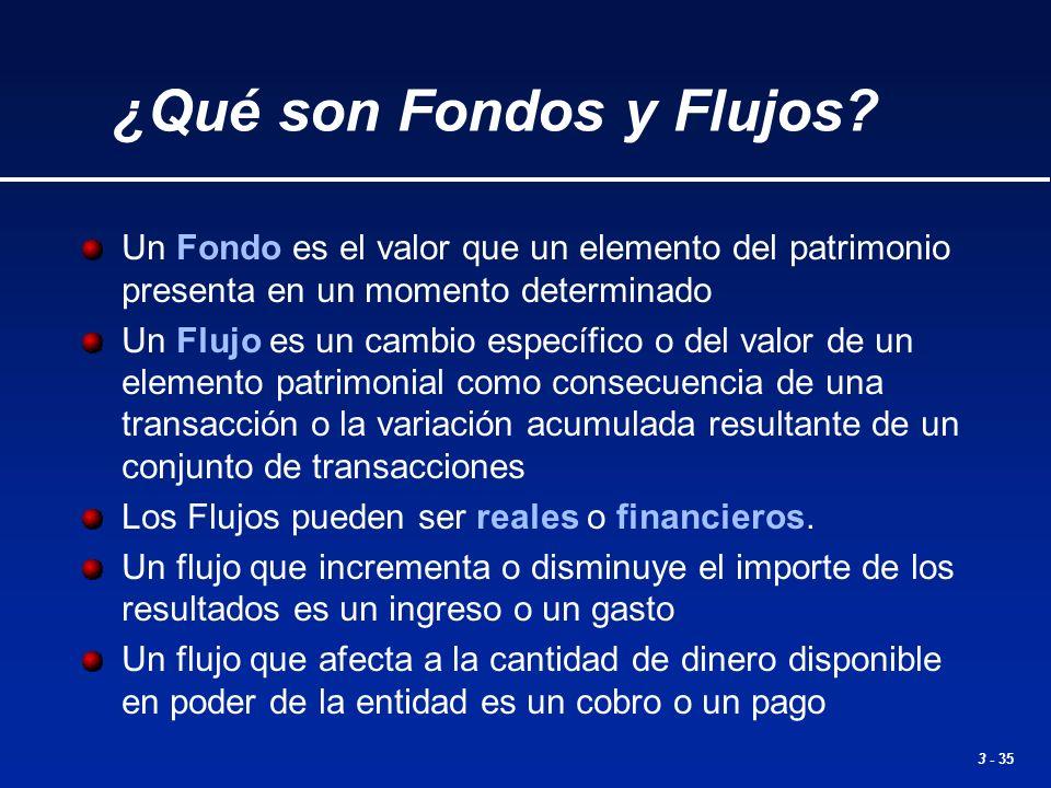 3 - 35 Un Fondo es el valor que un elemento del patrimonio presenta en un momento determinado Un Flujo es un cambio específico o del valor de un eleme